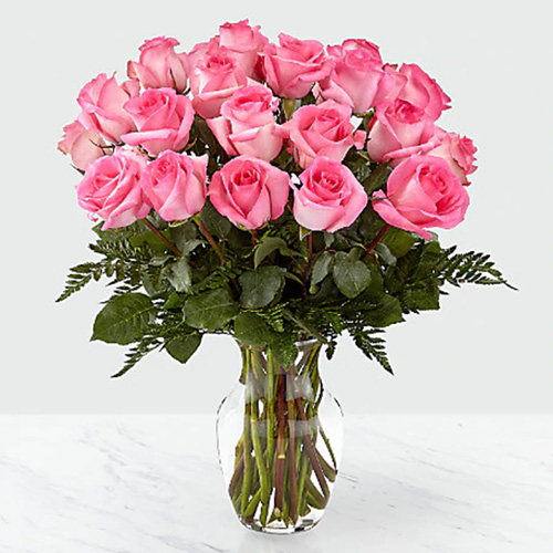 24 Light Pink Roses with Greens